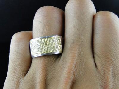 MENS WHITE GOLD FINISH ROUND CUT CANARY DIAMOND PAVE WEDDING BAND