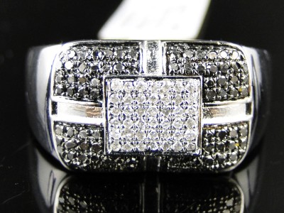 MENS WHITE GOLD FINISH WHITE/BLACK DIAMOND FASHION DESIGNER PINKY RING