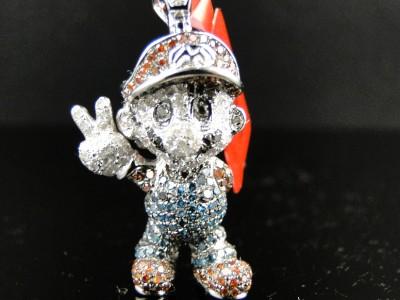 10k white gold cartoon mario multi color diamond pendant charm 15 click to view supersized image aloadofball Images