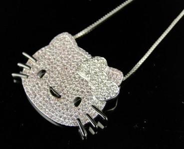 LADIES WHITE GOLD FINISH HELLO KITTY DIAMOND FASHION SLIDE PENDANT