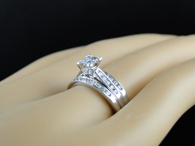 10k White Gold Las Bridal Engagement Wedding Band Diamond Ring 3 Piece Set