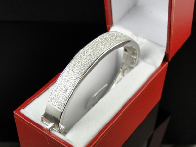 MENS WHITE GOLD FINISH DIAMOND BANGLE BRACELET 8.5 INCH 2.5 CT