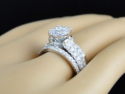14k White Gold Princess Diamond Ladies Bridal Engagement Ring 3