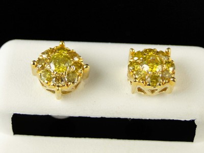 Details About 10k Mens Las Yellow Gold 8 Mm Canary Diamond Cer Stud Earrings 1 03 Ct