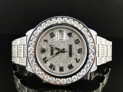 35 Ct New Mens Fully Iced Out Genuine Diamond Rolex Date Just 2 Ii 46mm Watch Ebay