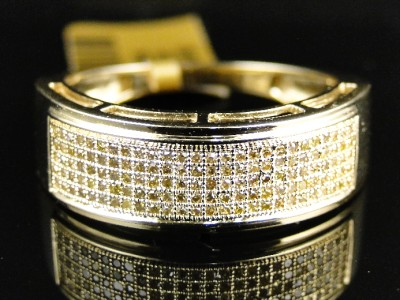 10k Yellow Gold Mens Ladies Canary Diamond 75 Mm Wedding Band Ring 1 2 Ct