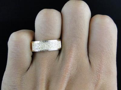 10k Yellow Gold Mens Ladies Canary Diamond 75 mm Wedding band Ring