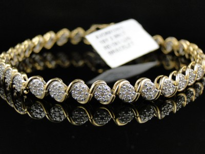 10k Womens Las Yellow Gold Genuine Round Diamond Cer Tennis Bracelet 2 Ct