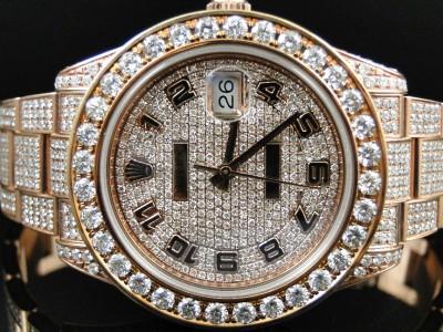 28 Ct New Mens Full Diamond Rose Gold Rolex Datejust Date