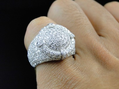 New Mens White Gold Round Diamond 3d Iced Out Xl Pinky Band Ring