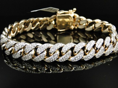 image mm view gold yellow to diamond genuine cuban click bracelet miami bangle solid tp mens supersize itm ct