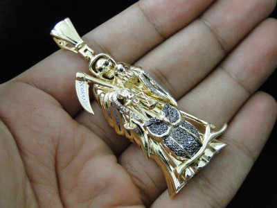 Yellow gold finish death grim reaper diamond owl black pendant charm click to see supersized image mozeypictures Gallery