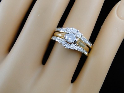 14k Yellow Gold Solitaire Jacket Guard Enhancer Engagement Wedding