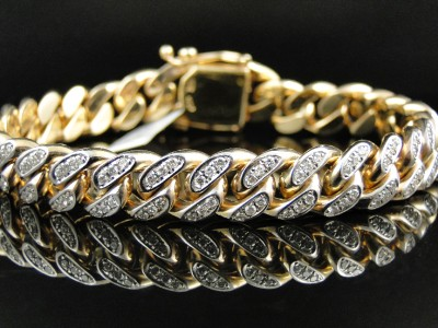 Mens Solid Yellow Gold Miami Cuban Genuine 12 MM Diamond Bracelet