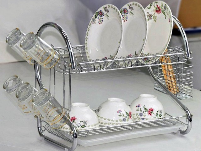 Chrome 2 Tiers Dish Drying Rack Drainer Dryer Tray Kitchen