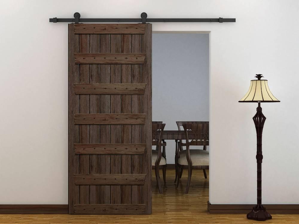 6ft Modern European Style Black Barn Wood Sliding Door Closet