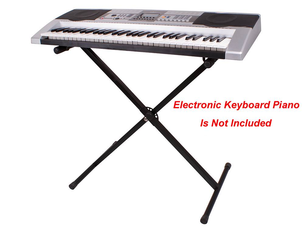 black adjustable metal music keyboard piano electronic organ x stand braced rack ebay. Black Bedroom Furniture Sets. Home Design Ideas