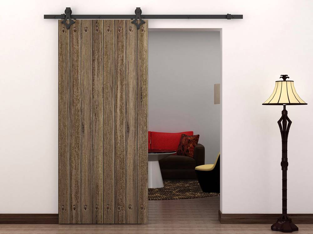 6 ft country style black barn wood steel sliding door for Barnwood pocket door