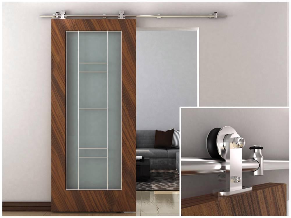 79u0027u0027 Stainless Steel Modern European Style Barn Wood Sliding Door Hardware  Track Set