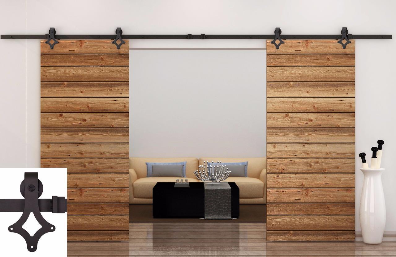 Store Categories & 12FT Dark Coffee Country Barn Double Wood Steel Sliding Door ...