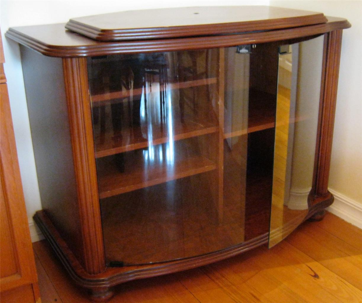 corner tv cabinet with lazy susan top dark stain with glass doors ebay. Black Bedroom Furniture Sets. Home Design Ideas