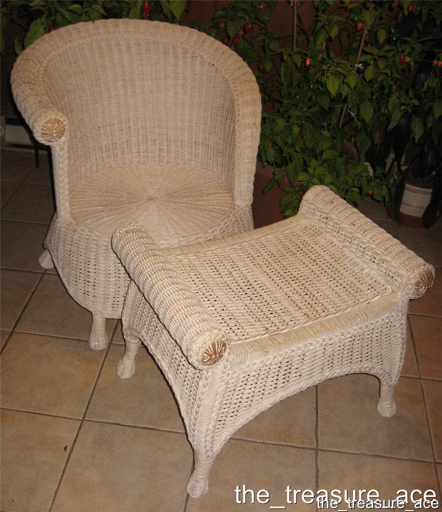 ~PIER ONE~Shabby Chic~White Wicker SET Chair Ottoman