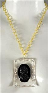 Only 99.90 SALE Antique Large Black Lucite Cameo Doublet With Polka Dots on Origianal Black Celluloid Link 19 Chain