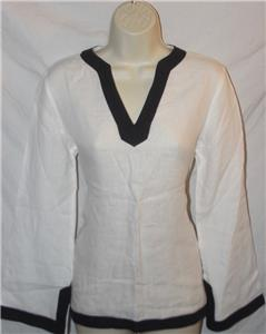 76efe8a9b4365 Lands End Women s Linen Tunic Shirt White Navy Size S Petite NEW NWT FREE  SHIP