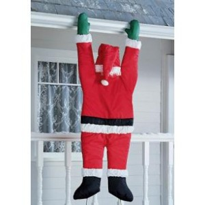New Life Sz Christmas Hanging Santa Suit From On Gutter