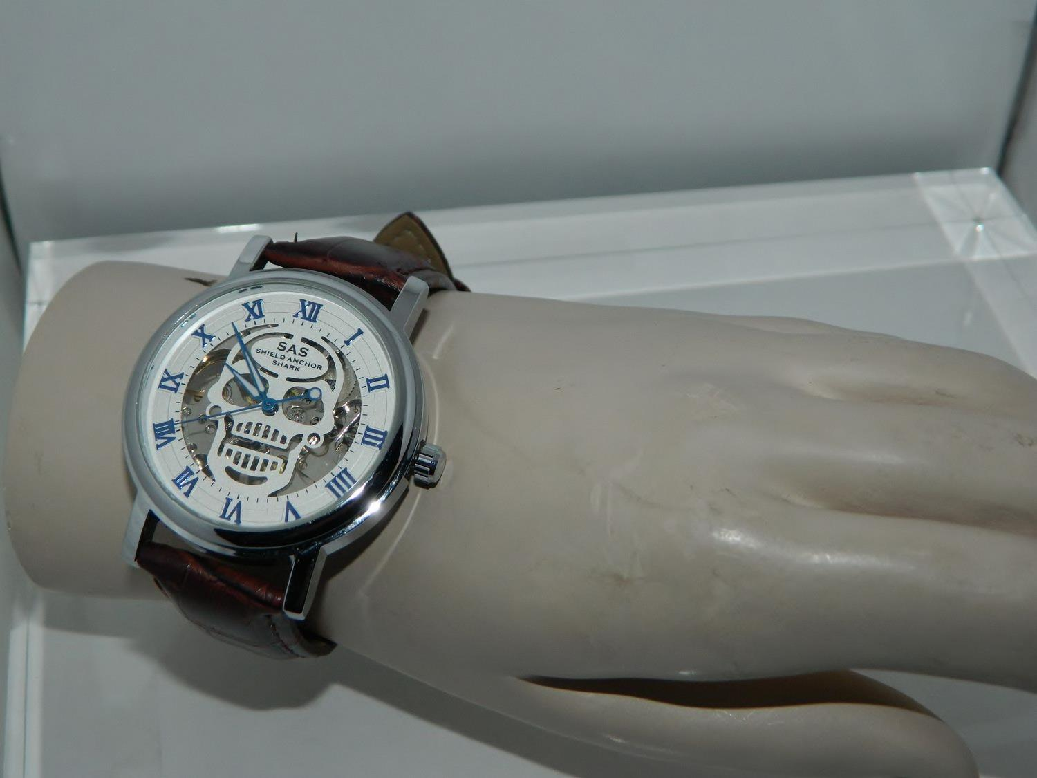 Shield Anchor Shark Skull Mechanical Hand Wind Skeleton Steel White Dial Watch. Click images to enlarge