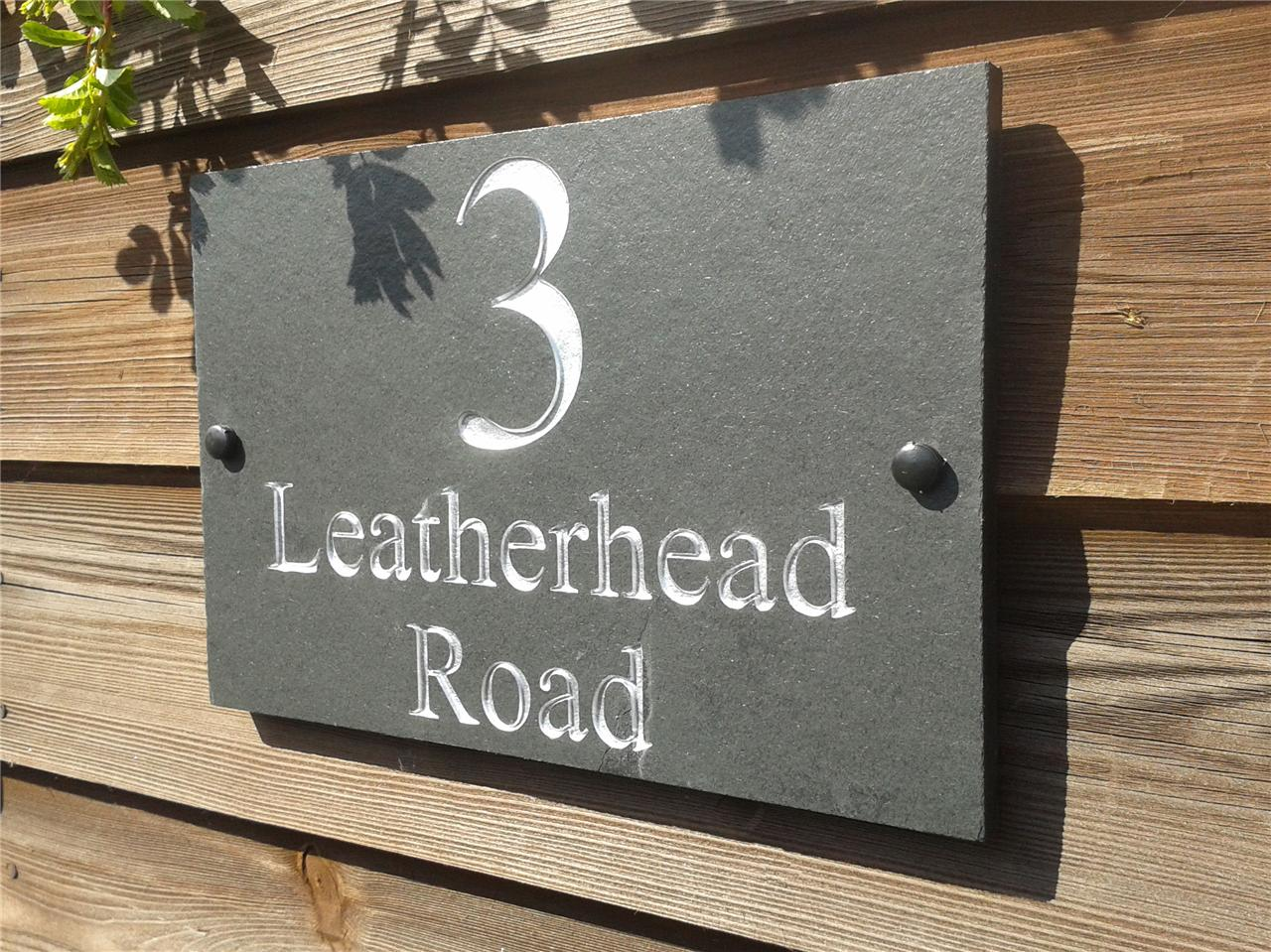 House Number Plaques Slate: Deep Engraved Slate House Door Gate Number Sign Plaque Any