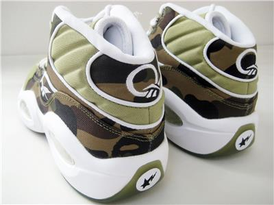 b6020dd3e A BATHING APE 1ST CAMO REEBOK QUESTION MID BAPE BRAND NEW US8.5 GREEN MITA
