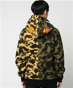 fefc17c9d3e1 A BATHING APE BAPE 1ST CAMO HALF SHARK FULL ZIP HOODIE S WGM 17AW yellow  green