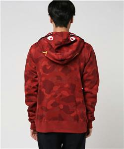 A BATHING APE COLOR CAMO JACQUARD SHARK WIDE FULL ZIP HOODIE Red L 17AW Bape