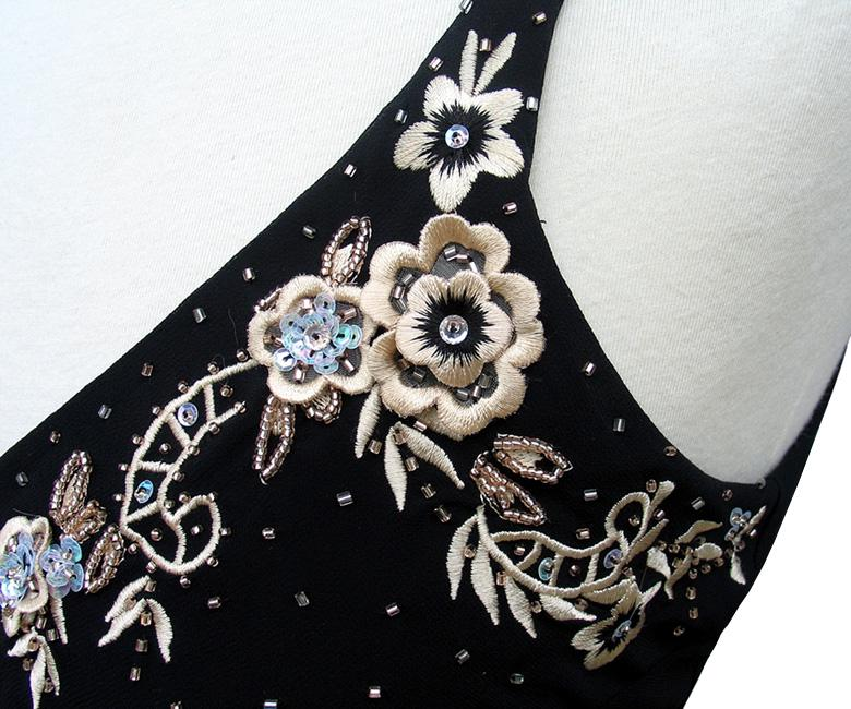 R Amp M Richards Black Embroidered Applique Handkerchief Hem