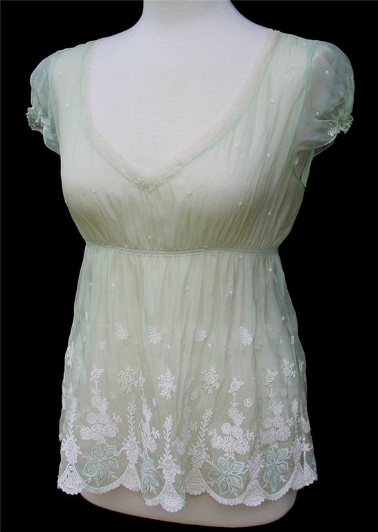 Elie Tahari Pale Green Embroidered Silk Organza Daisy