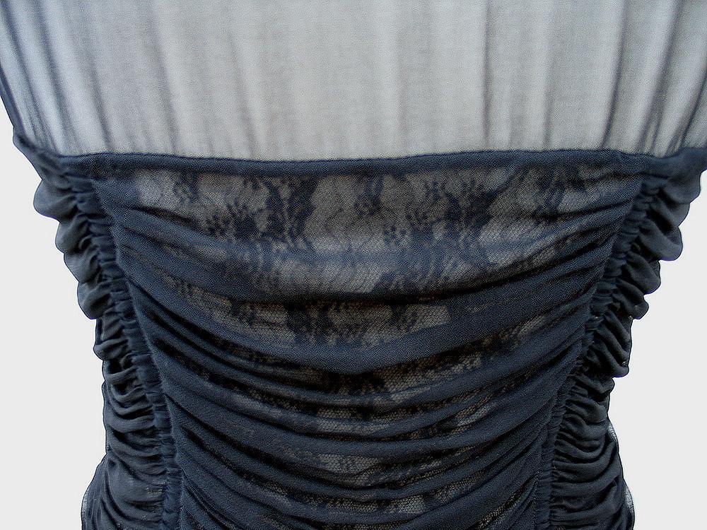 Ruby Rose R W B Y 1 Mod Preview: ELIE TAHARI • Black Lace Silk Chiffon Ruched MARYELLEN