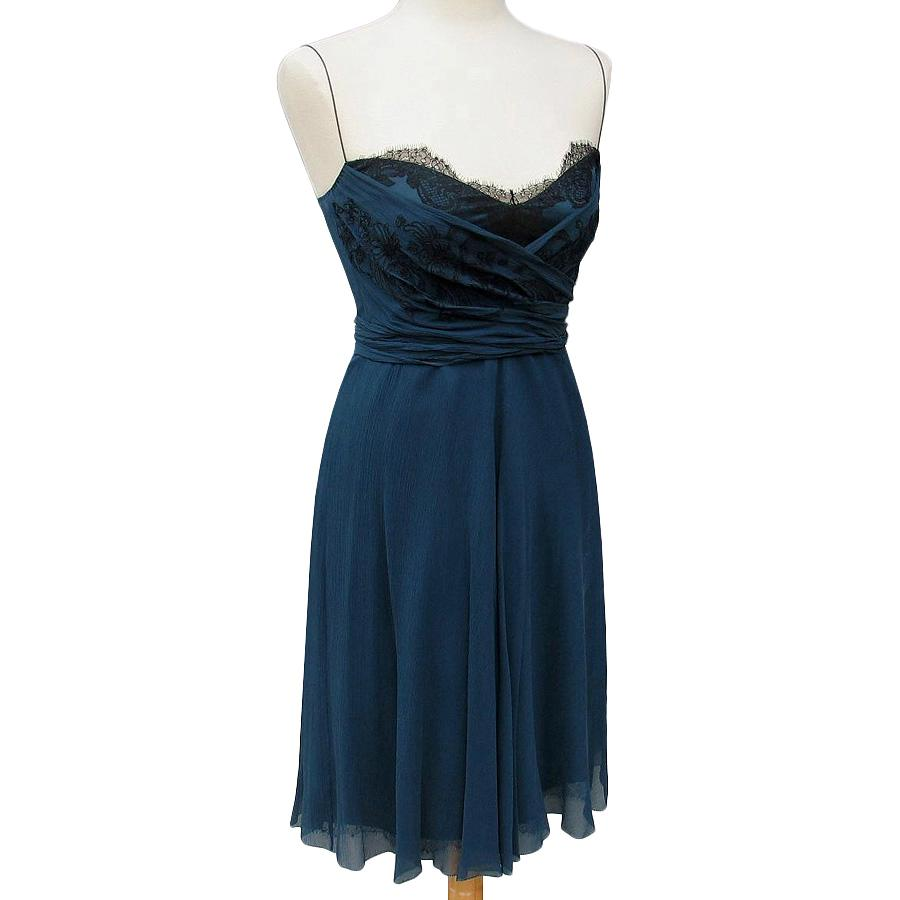Elie Tahari Saxon Blue 100 Silk Glenda Dress Us 10 Uk 14