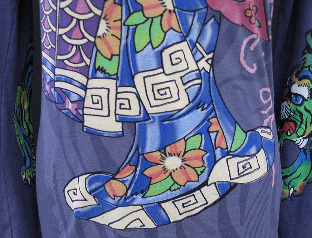 Don Ed Hardy Christian Audigier Purple Kimono Geisha Tiger