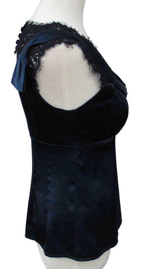 Nanette Lepore Lapore Navy Blue Charmed Silk Satin Blouse