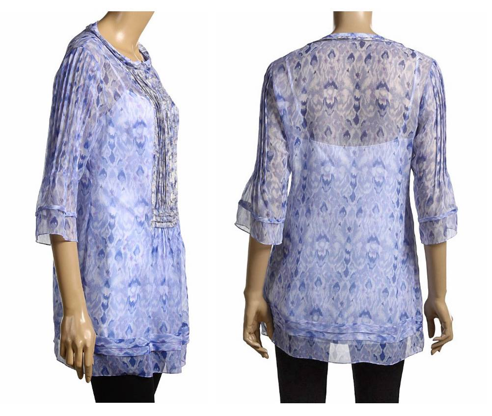 Elie Tahari Blue Print Silk Jillie Blouse Top Tunic