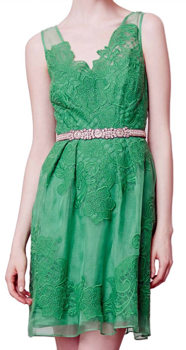 Yoana Baraschi Green Cloverlace Silk Organza Dress
