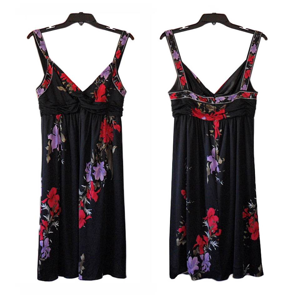 Elie Tahari Black Silk Floral Print Renee Dress Small