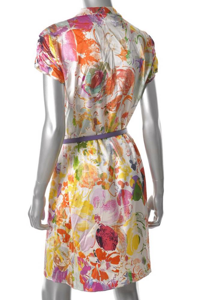 Elie Tahari Bright Floral Print Stretch Silk Charmeuse