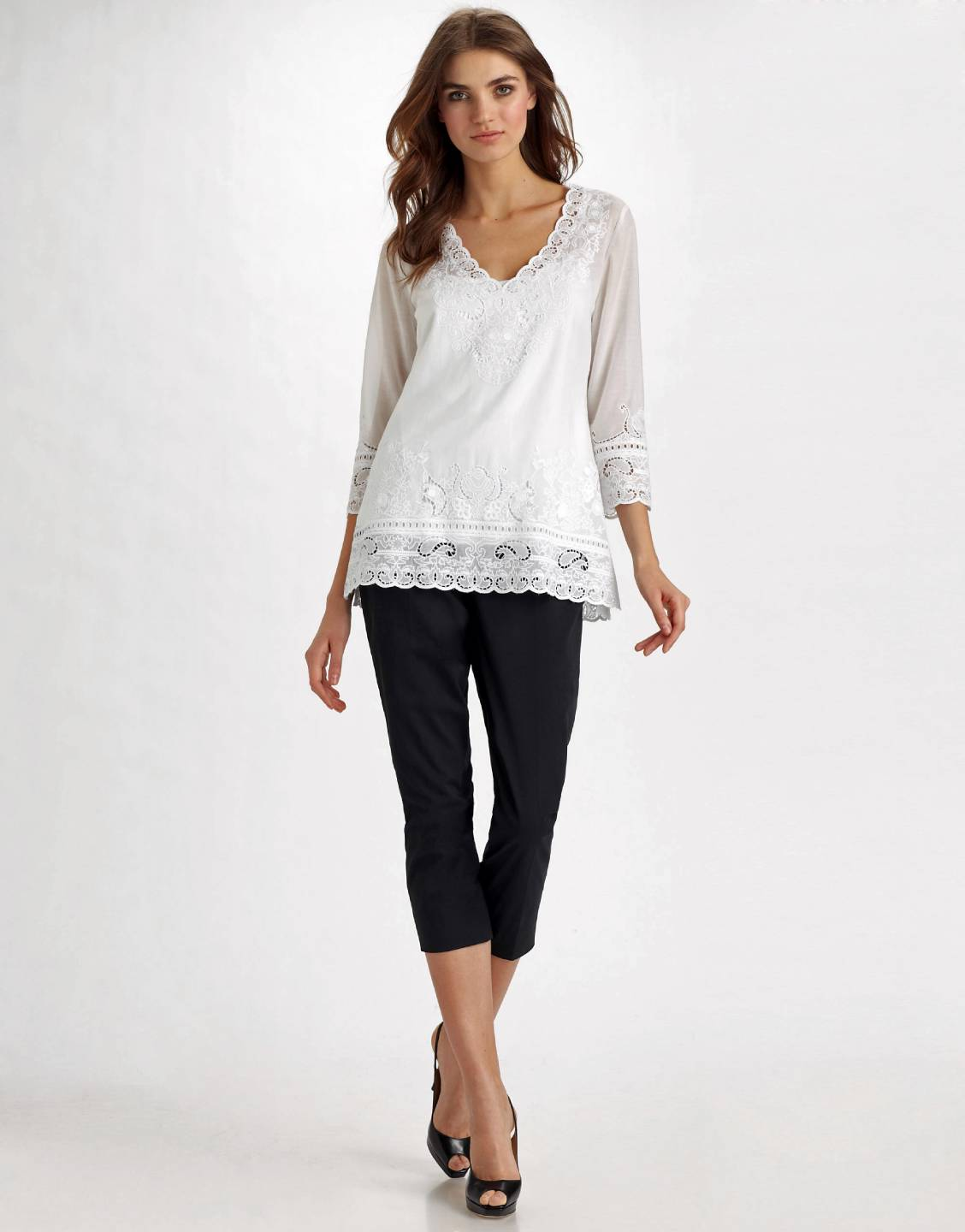 Elie Tahari White Eyelet Embroidered Lauren Tunic Blouse