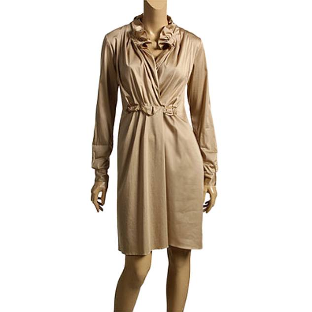 Elie Tahari British Khaki Stretch Sateen Kloe Dress Us 12