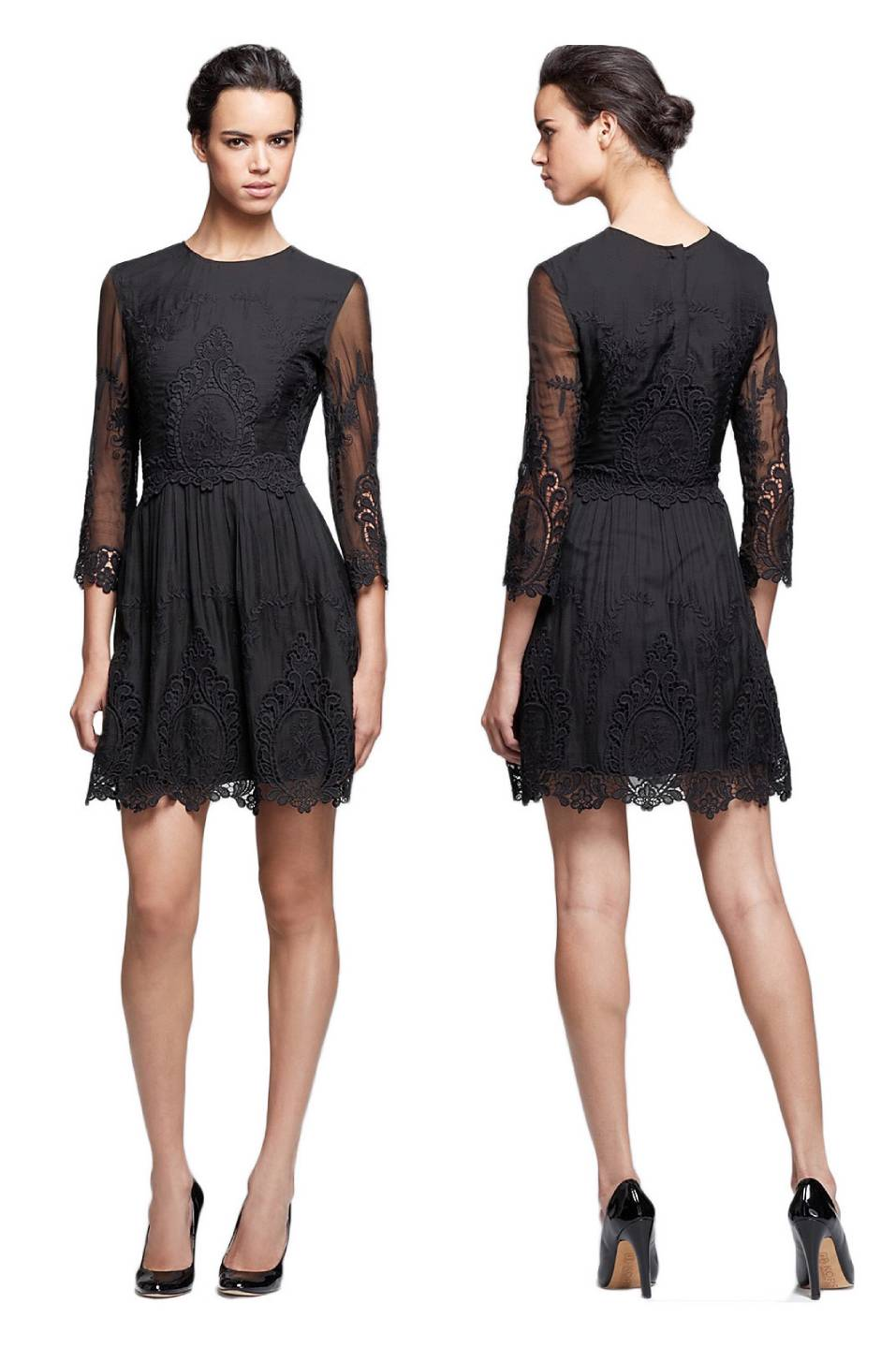 Nwt Dolce Vita Black Silk Lace Embroidered Valentina Dress L Sold Out Ebay
