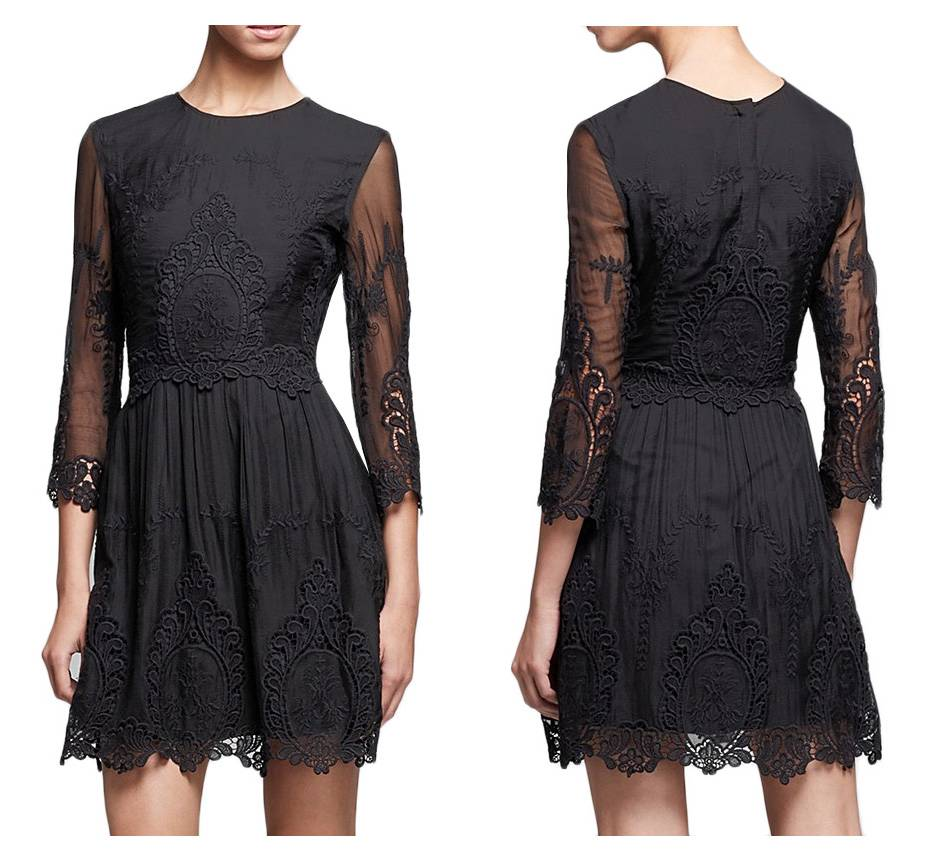 NWT DOLCE VITA Black Silk Lace Embroidered VALENTINA Dress
