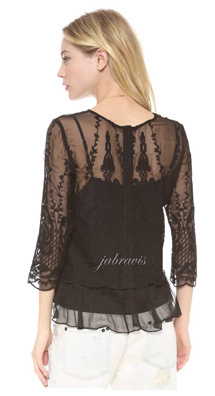 Dolce Vita Black Embroidered Silk Chiffon Macbeth Top