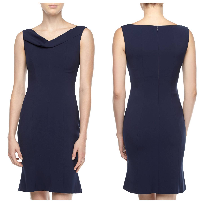 T Tahari By Elie Tahari Navy Sapphire Lisbeth Dress Us 8